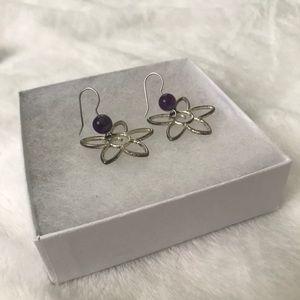 Sterling Silver Purple Stone Flower Earrings.